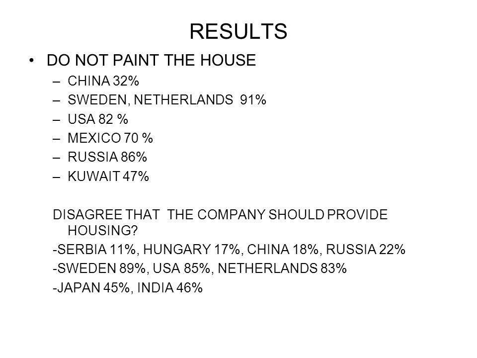 RESULTS DO NOT PAINT THE HOUSE –CHINA 32% –SWEDEN, NETHERLANDS 91% –USA 82 % –MEXICO 70 % –RUSSIA 86% –KUWAIT 47% DISAGREE THAT THE COMPANY SHOULD PROVIDE HOUSING.