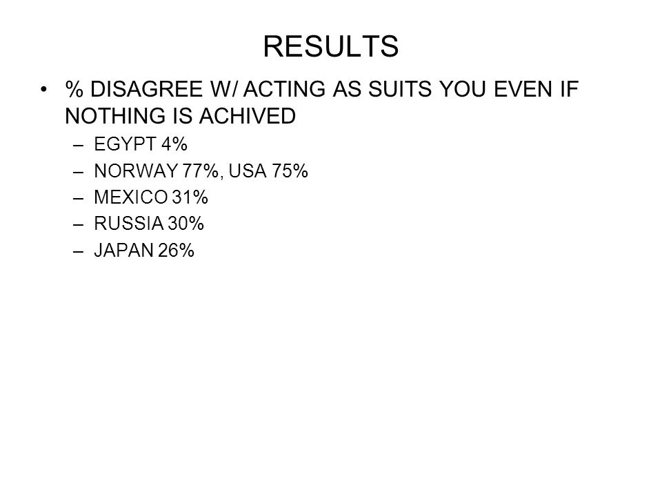 RESULTS % DISAGREE W/ ACTING AS SUITS YOU EVEN IF NOTHING IS ACHIVED –EGYPT 4% –NORWAY 77%, USA 75% –MEXICO 31% –RUSSIA 30% –JAPAN 26%