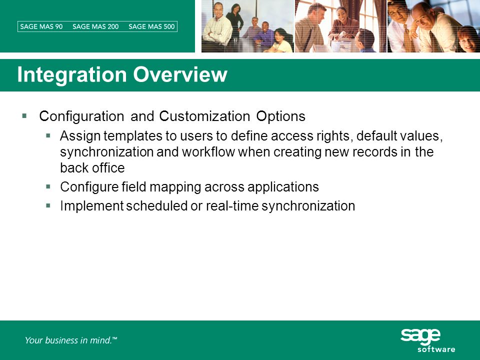 Integration Overview Configuration and Customization Options Assign templates to users to define access rights, default values, synchronization and workflow when creating new records in the back office Configure field mapping across applications Implement scheduled or real-time synchronization