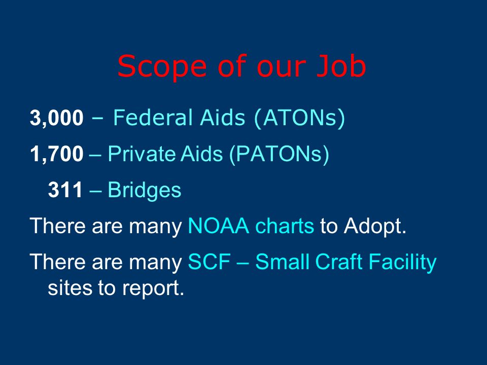 Scope of our Job 3,000 – Federal Aids (ATONs) 1,700 – Private Aids (PATONs) 311 – Bridges There are many NOAA charts to Adopt.