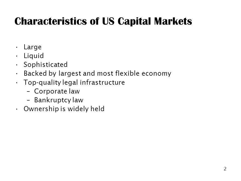 2 Characteristics of US Capital Markets Large Liquid Sophisticated Backed by largest and most flexible economy Top-quality legal infrastructure –Corporate law –Bankruptcy law Ownership is widely held