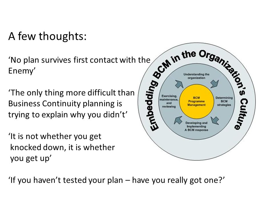A few thoughts: No plan survives first contact with the Enemy The only thing more difficult than Business Continuity planning is trying to explain why you didnt It is not whether you get knocked down, it is whether you get up If you havent tested your plan – have you really got one