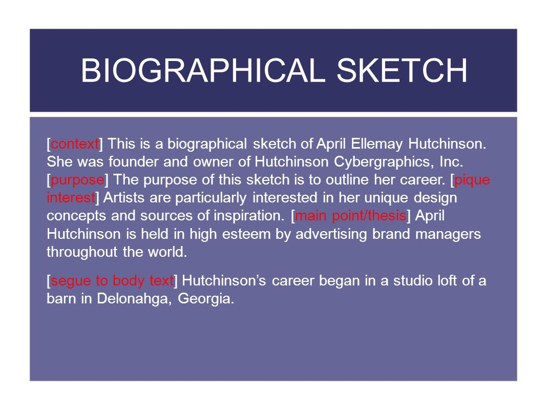 BIOGRAPHICAL SKETCH [context] This is a biographical sketch of April Ellemay Hutchinson.