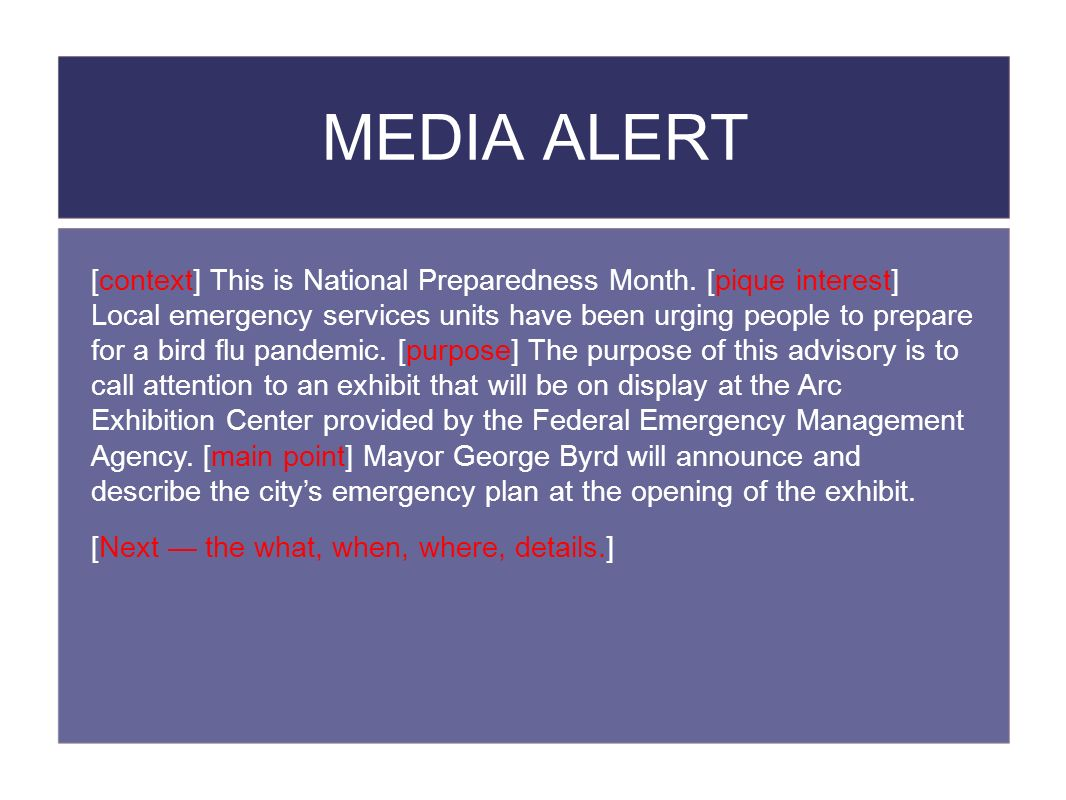 MEDIA ALERT [context] This is National Preparedness Month.