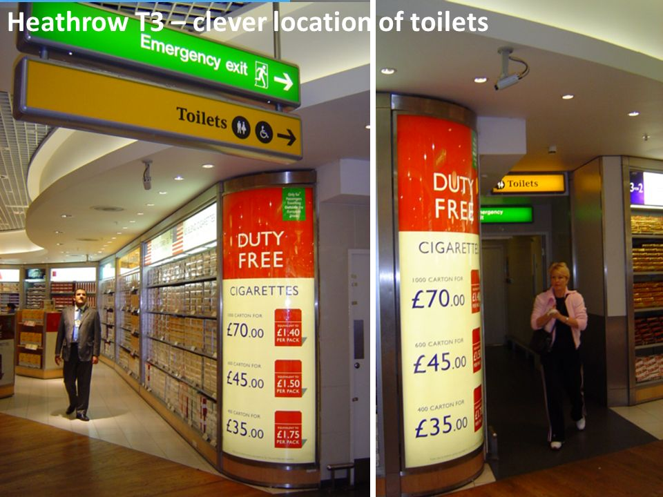 Heathrow T3 – clever location of toilets