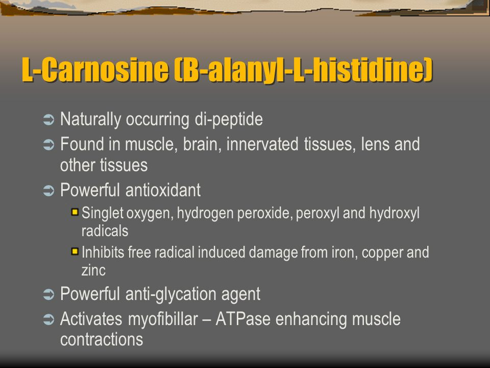 L-Carnosine (B-alanyl-L-histidine) Naturally occurring di-peptide Found in muscle, brain, innervated tissues, lens and other tissues Powerful antioxidant Singlet oxygen, hydrogen peroxide, peroxyl and hydroxyl radicals Inhibits free radical induced damage from iron, copper and zinc Powerful anti-glycation agent Activates myofibillar – ATPase enhancing muscle contractions