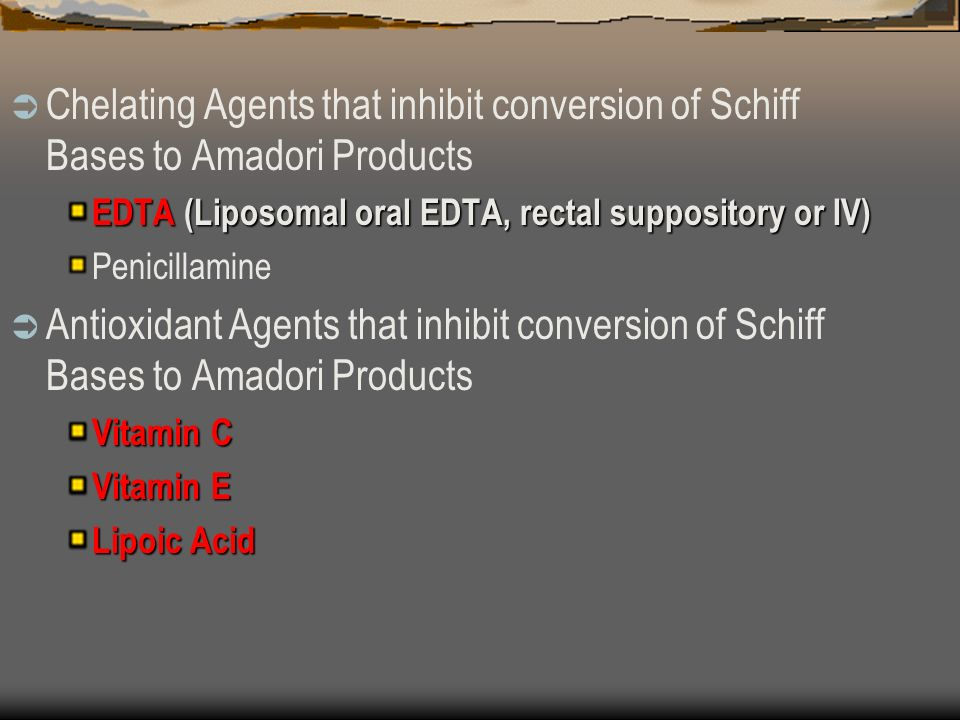 Chelating Agents that inhibit conversion of Schiff Bases to Amadori Products EDTA (Liposomal oral EDTA, rectal suppository or IV) Penicillamine Antioxidant Agents that inhibit conversion of Schiff Bases to Amadori Products Vitamin C Vitamin E Lipoic Acid