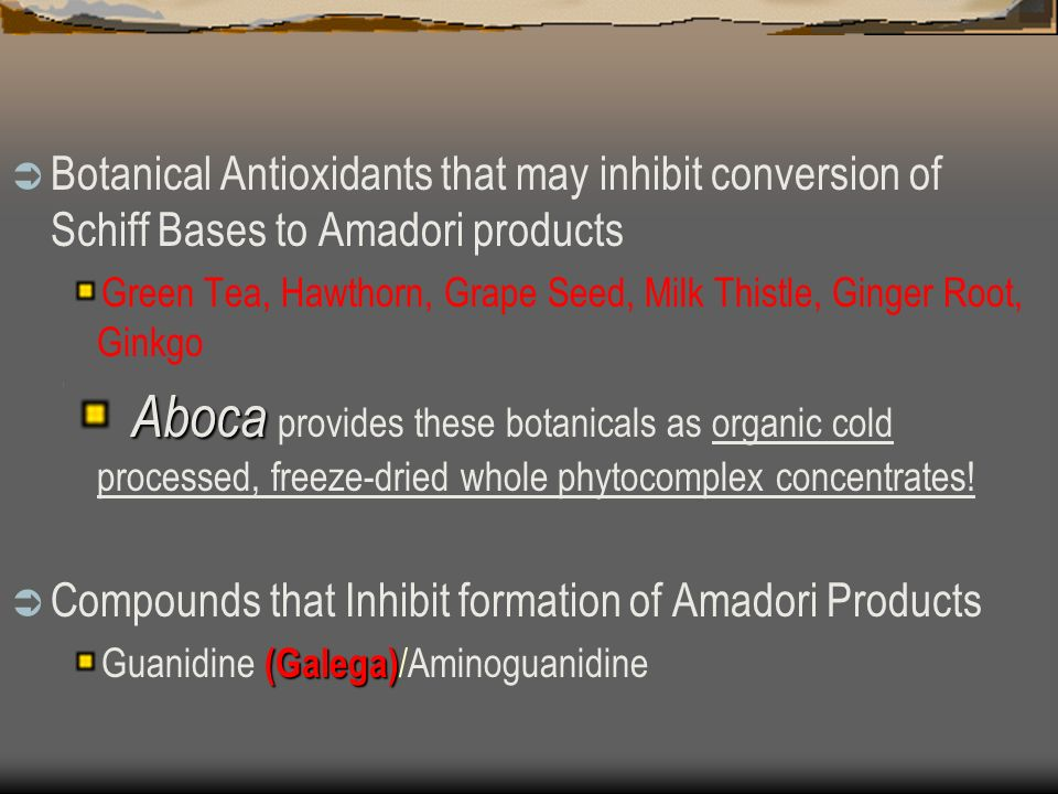 Botanical Antioxidants that may inhibit conversion of Schiff Bases to Amadori products Green Tea, Hawthorn, Grape Seed, Milk Thistle, Ginger Root, Ginkgo Aboca Aboca provides these botanicals as organic cold processed, freeze-dried whole phytocomplex concentrates.