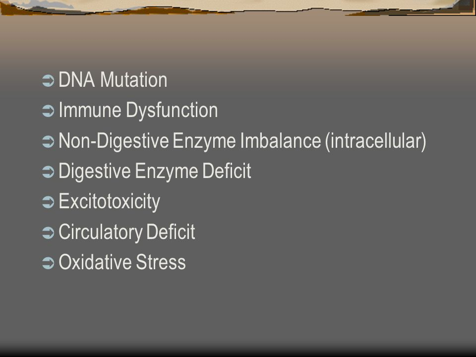 DNA Mutation Immune Dysfunction Non-Digestive Enzyme Imbalance (intracellular) Digestive Enzyme Deficit Excitotoxicity Circulatory Deficit Oxidative Stress