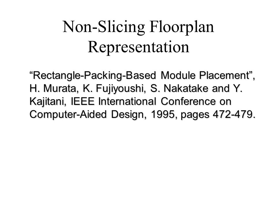 Non-Slicing Floorplan Representation Rectangle-Packing-Based Module Placement, H.