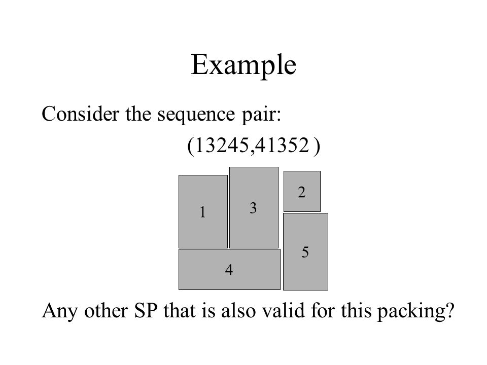 Example Consider the sequence pair: (13245,41352 ) Any other SP that is also valid for this packing.