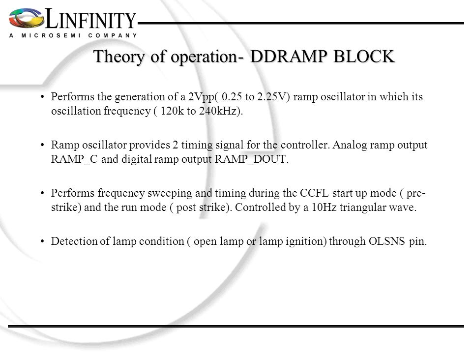 Theory of operation- DDRAMP BLOCK Performs the generation of a 2Vpp( 0.25 to 2.25V) ramp oscillator in which its oscillation frequency ( 120k to 240kHz).