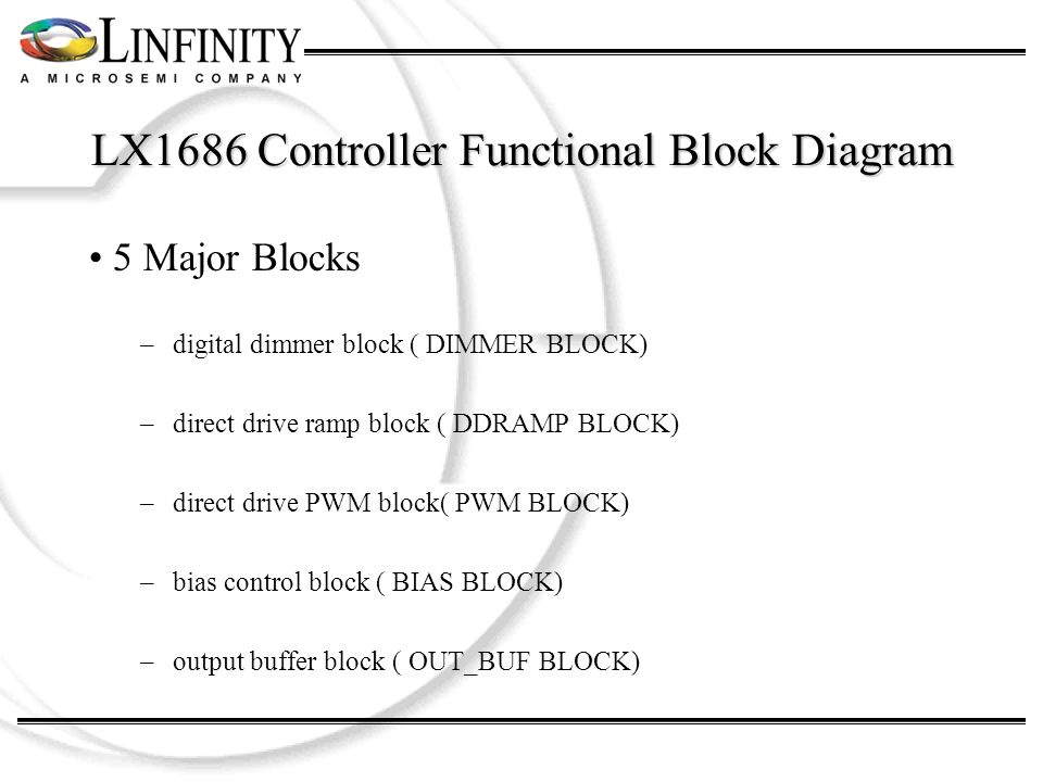 LX1686 Controller Functional Block Diagram 5 Major Blocks –digital dimmer block ( DIMMER BLOCK) –direct drive ramp block ( DDRAMP BLOCK) –direct drive PWM block( PWM BLOCK) –bias control block ( BIAS BLOCK) –output buffer block ( OUT_BUF BLOCK)