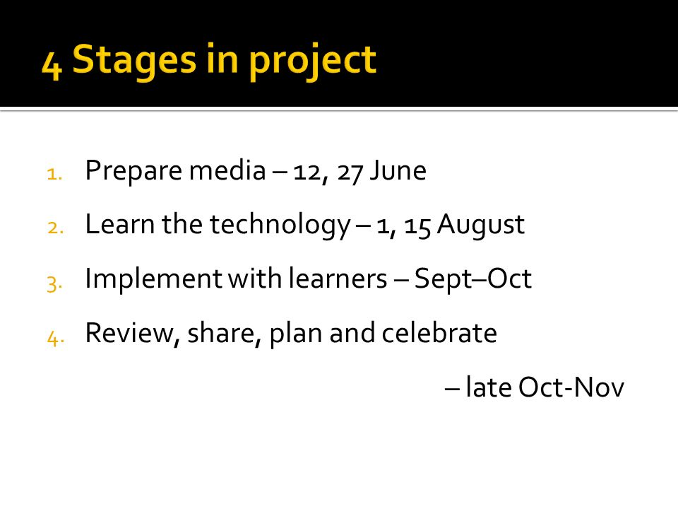 1. Prepare media – 12, 27 June 2. Learn the technology – 1, 15 August 3.