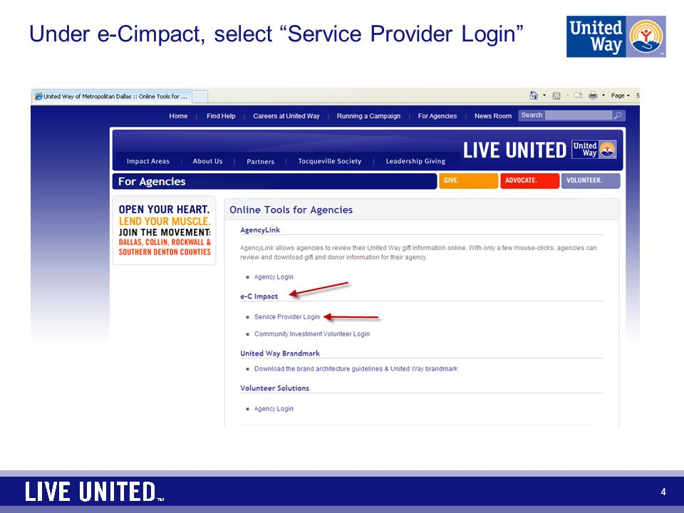 Under e-Cimpact, select Service Provider Login 4