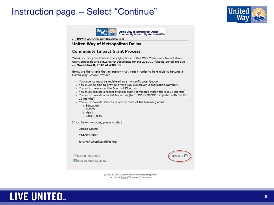 Instruction page – Select Continue 6