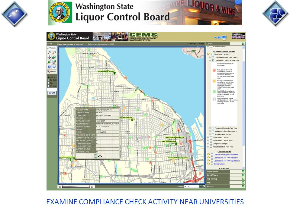 EXAMINE COMPLIANCE CHECK ACTIVITY NEAR UNIVERSITIES
