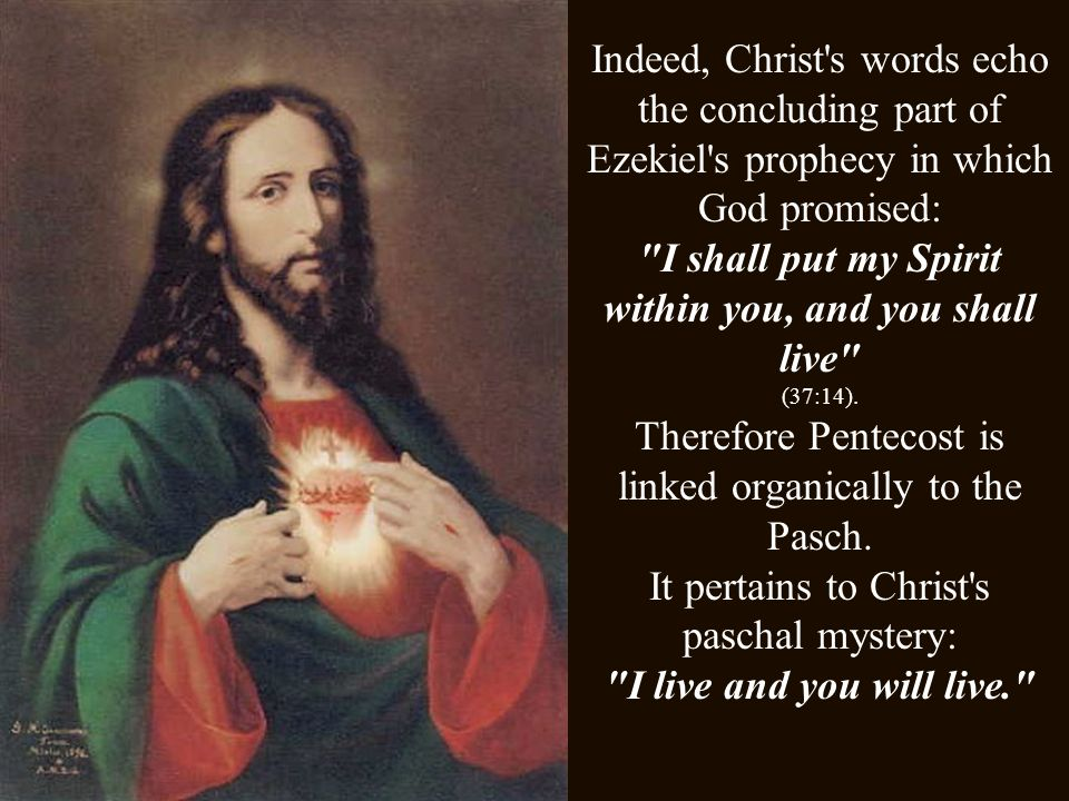 Indeed, Christ s words echo the concluding part of Ezekiel s prophecy in which God promised: I shall put my Spirit within you, and you shall live (37:14).