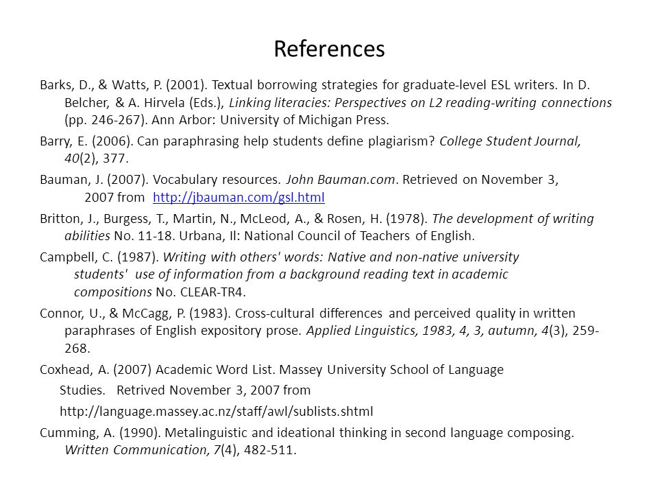 References Barks, D., & Watts, P. (2001).