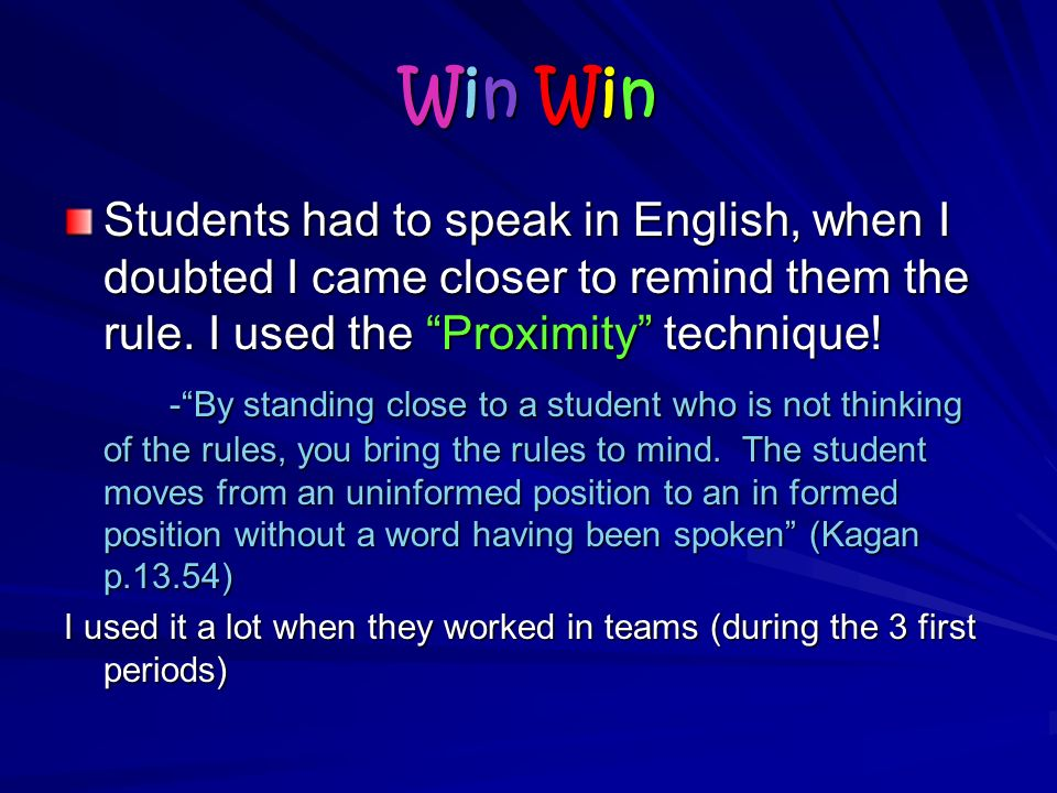 Win WinWin WinWin WinWin Win Students had to speak in English, when I doubted I came closer to remind them the rule.