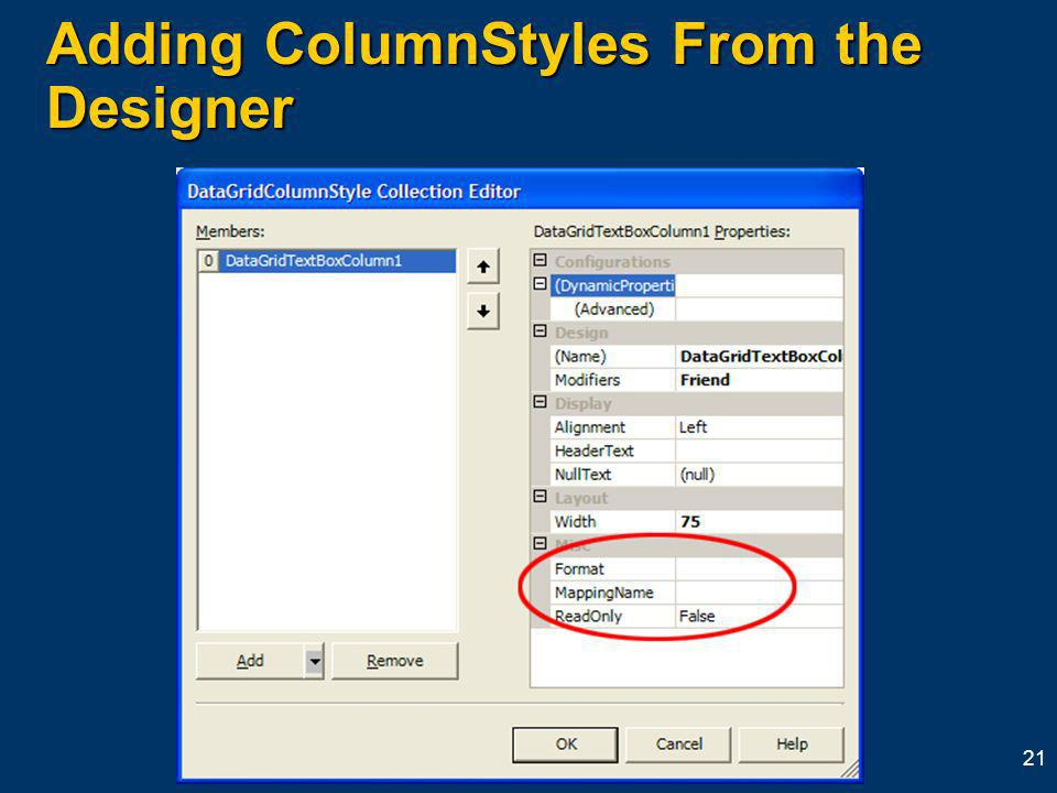 21 Adding ColumnStyles From the Designer