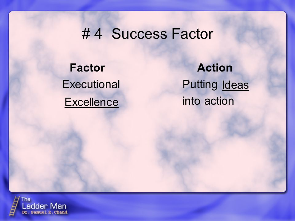 # 4Success Factor Factor Executional Action Putting into action Excellence Ideas