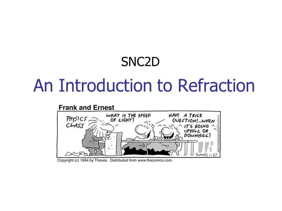 An Introduction to Refraction SNC2D