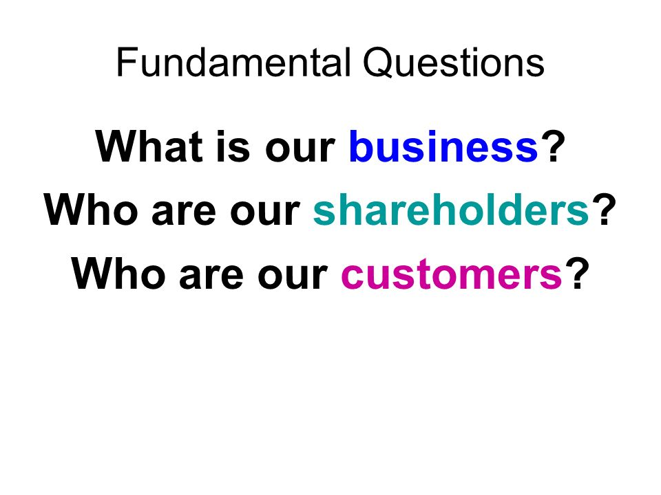Fundamental Questions What is our business Who are our shareholders Who are our customers