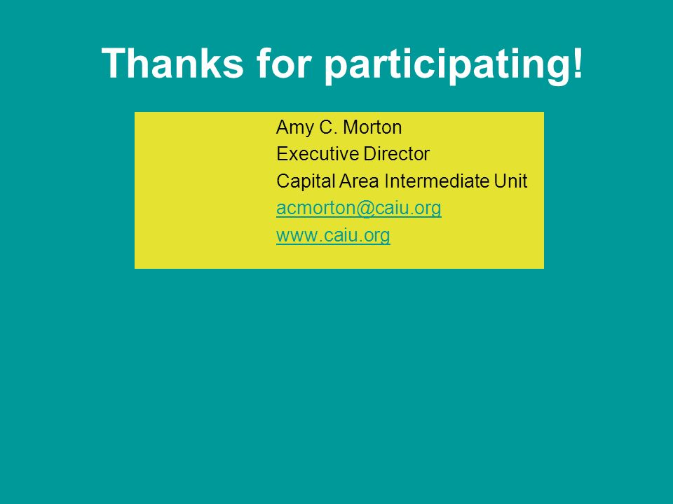 Thanks for participating. Amy C.