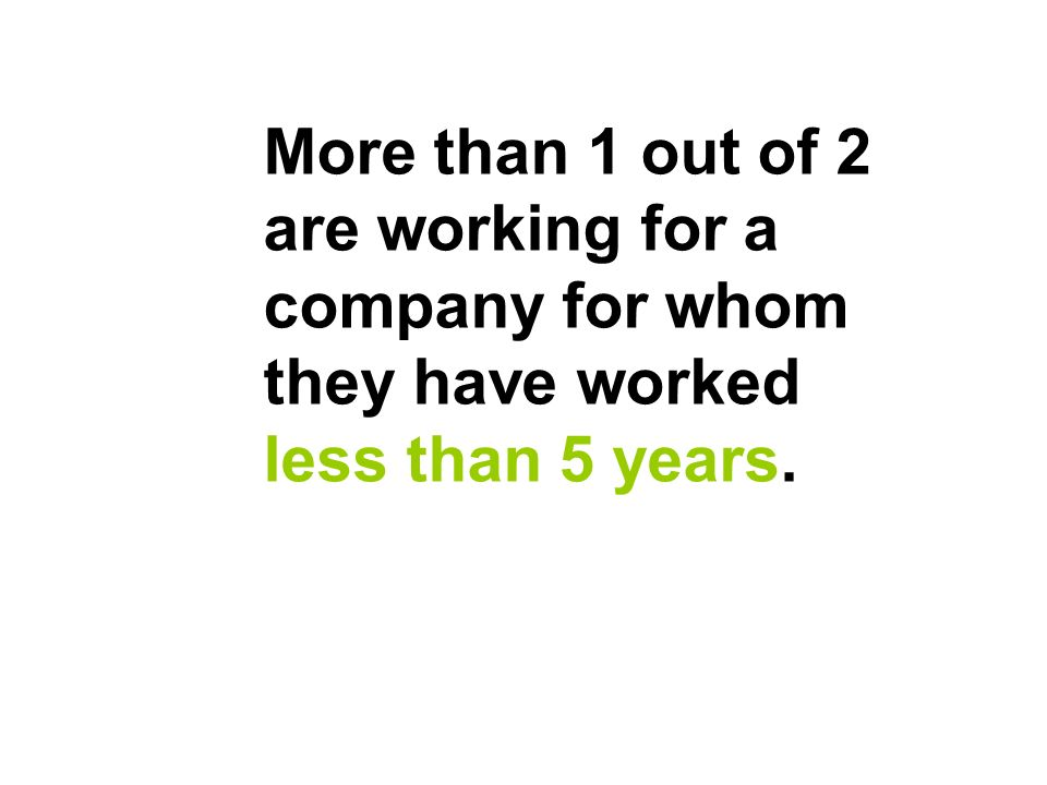 More than 1 out of 2 are working for a company for whom they have worked less than 5 years.