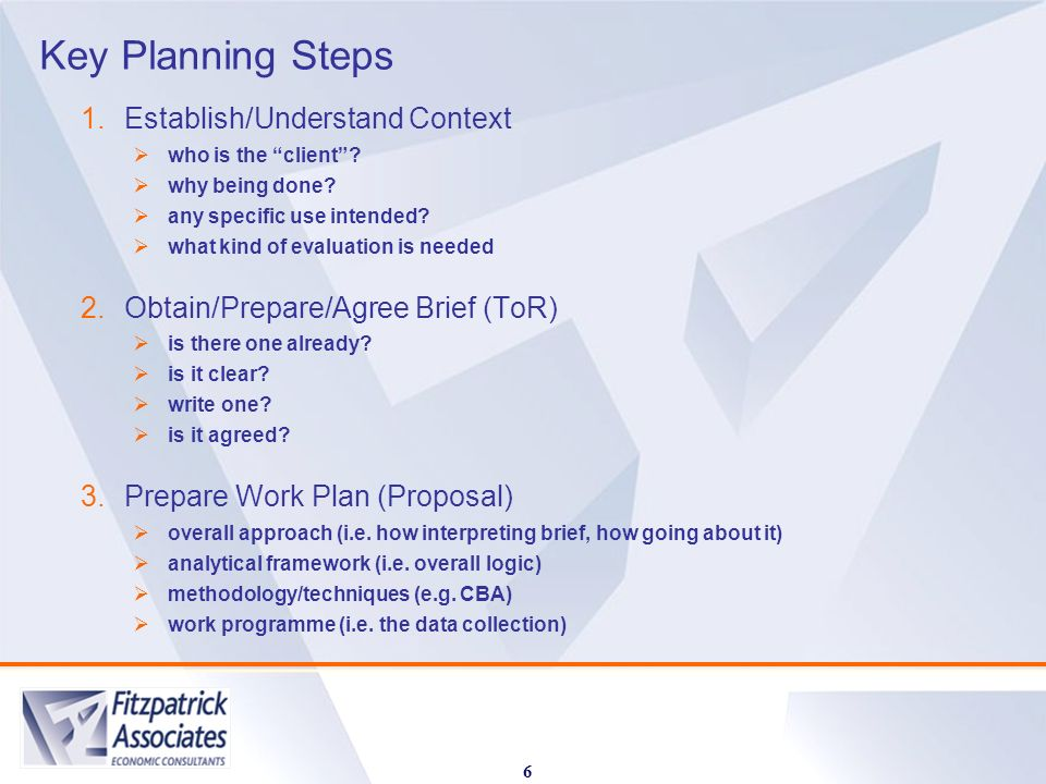 Key Planning Steps 6 1.Establish/Understand Context who is the client.