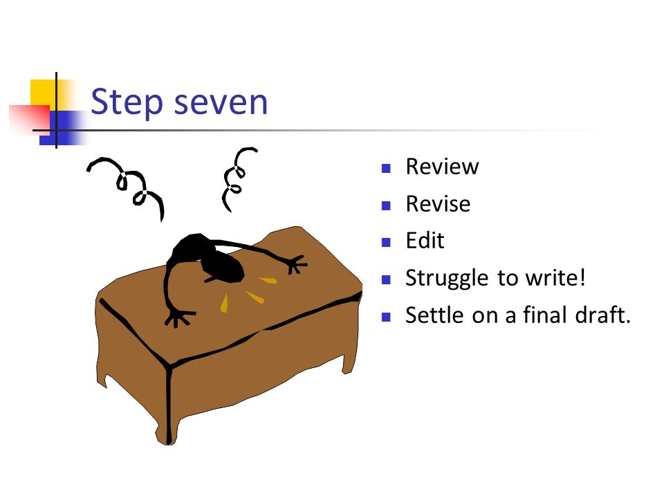 Step seven Review Revise Edit Struggle to write! Settle on a final draft.