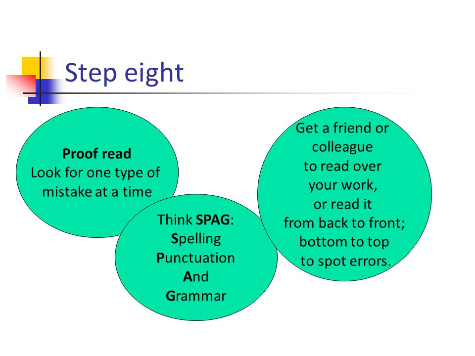 Step eight Proof read Look for one type of mistake at a time Think SPAG: Spelling Punctuation And Grammar Get a friend or colleague to read over your work, or read it from back to front; bottom to top to spot errors.