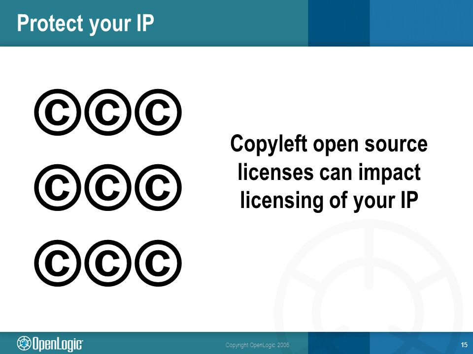 Copyright OpenLogic 2006 Protect your IP Copyleft open source licenses can impact licensing of your IP 15 ©©©