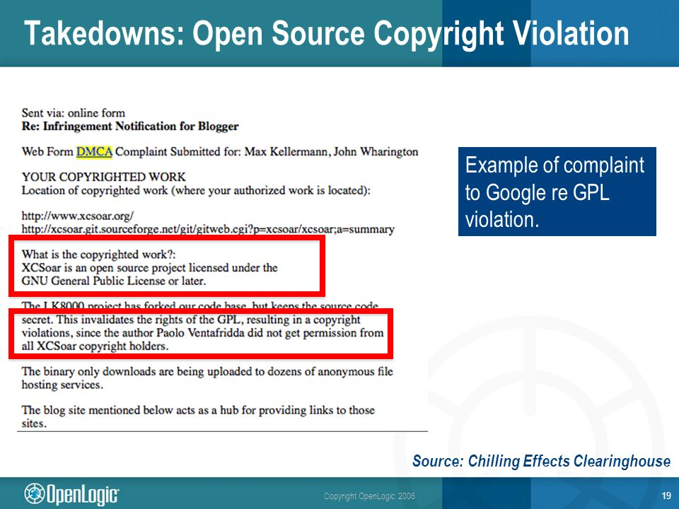 Copyright OpenLogic 2006 Takedowns: Open Source Copyright Violation 19 Example of complaint to Google re GPL violation.