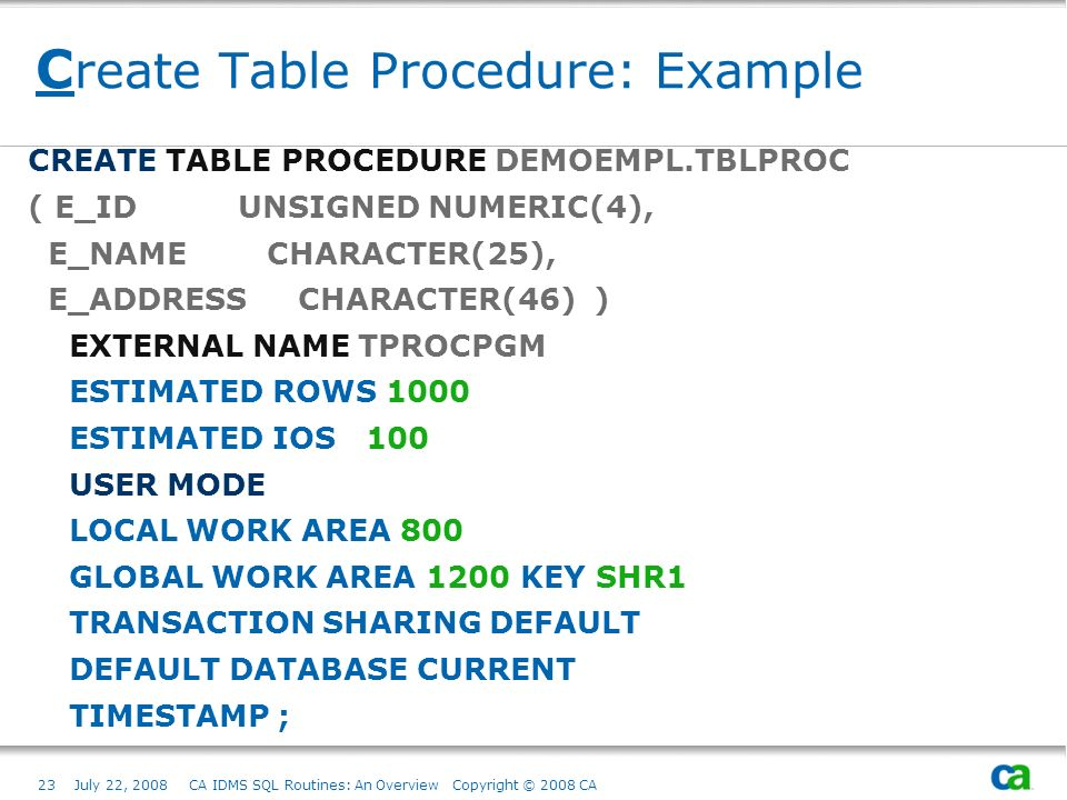 23July 22, 2008 CA IDMS SQL Routines: An Overview Copyright © 2008 CA C reate Table Procedure: Example CREATE TABLE PROCEDURE DEMOEMPL.TBLPROC ( E_ID UNSIGNED NUMERIC(4), E_NAME CHARACTER(25), E_ADDRESS CHARACTER(46) ) EXTERNAL NAME TPROCPGM ESTIMATED ROWS 1000 ESTIMATED IOS 100 USER MODE LOCAL WORK AREA 800 GLOBAL WORK AREA 1200 KEY SHR1 TRANSACTION SHARING DEFAULT DEFAULT DATABASE CURRENT TIMESTAMP ;