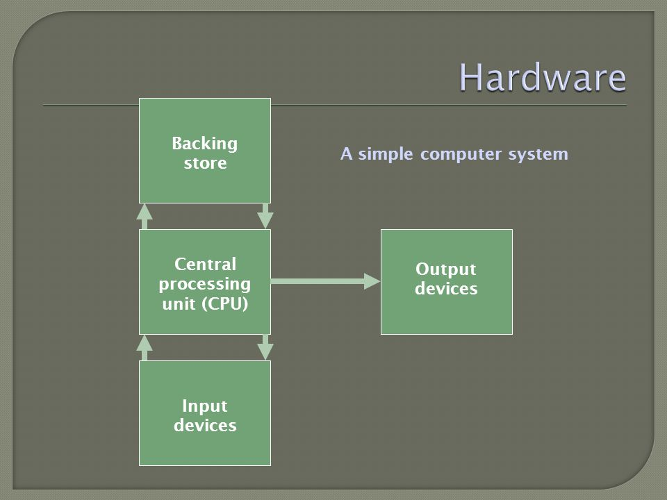 Central processing unit (CPU) Backing store Output devices Input devices A simple computer system
