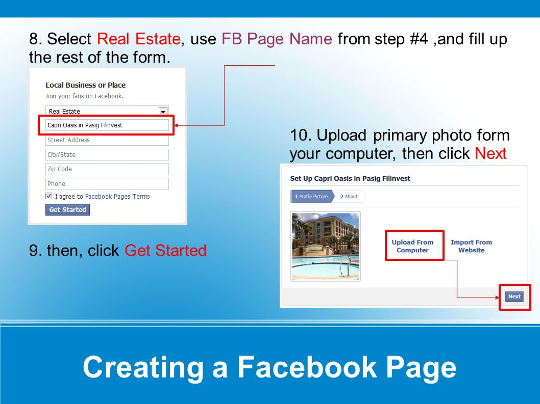 Creating a Facebook Page 8.