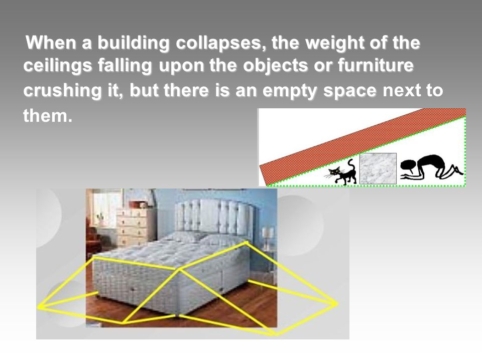 When a building collapses, the weight of the ceilings falling upon the objects or furniture crushing it, but there is an empty space When a building collapses, the weight of the ceilings falling upon the objects or furniture crushing it, but there is an empty space next to them.