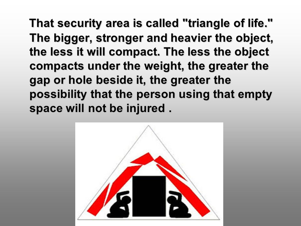 That security area is called triangle of life. The bigger, stronger and heavier the object, the less it will compact.