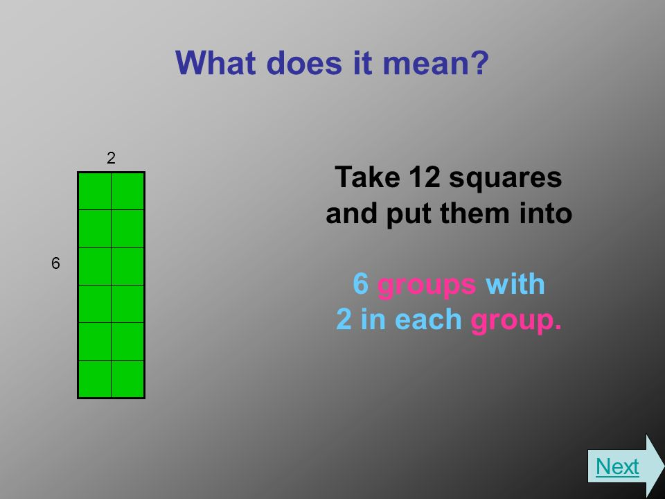 What does it mean Take 12 squares and put them into 6 groups with 2 in each group. 2 6 Next