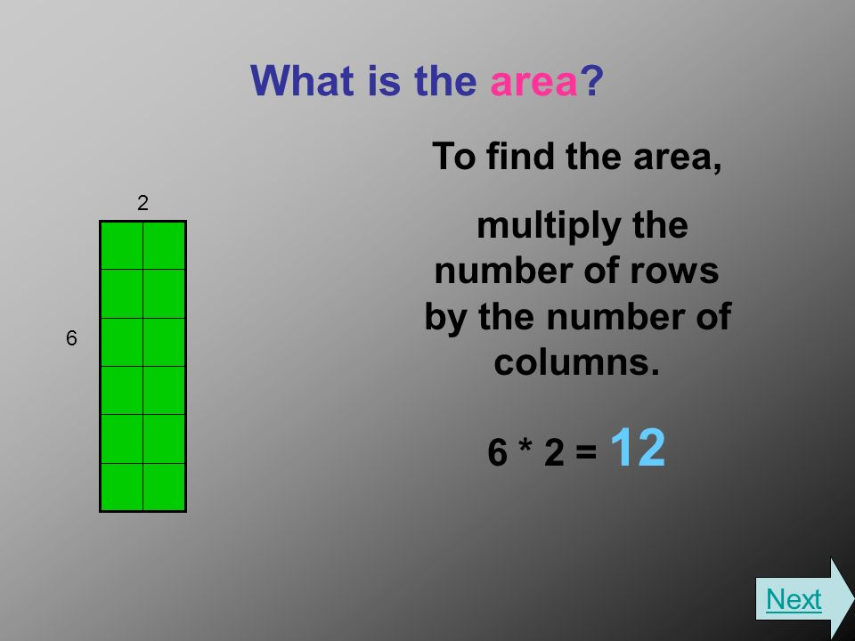 What is the area. To find the area, multiply the number of rows by the number of columns.