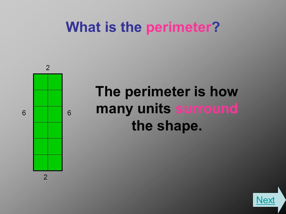 What is the perimeter The perimeter is how many units surround the shape Next