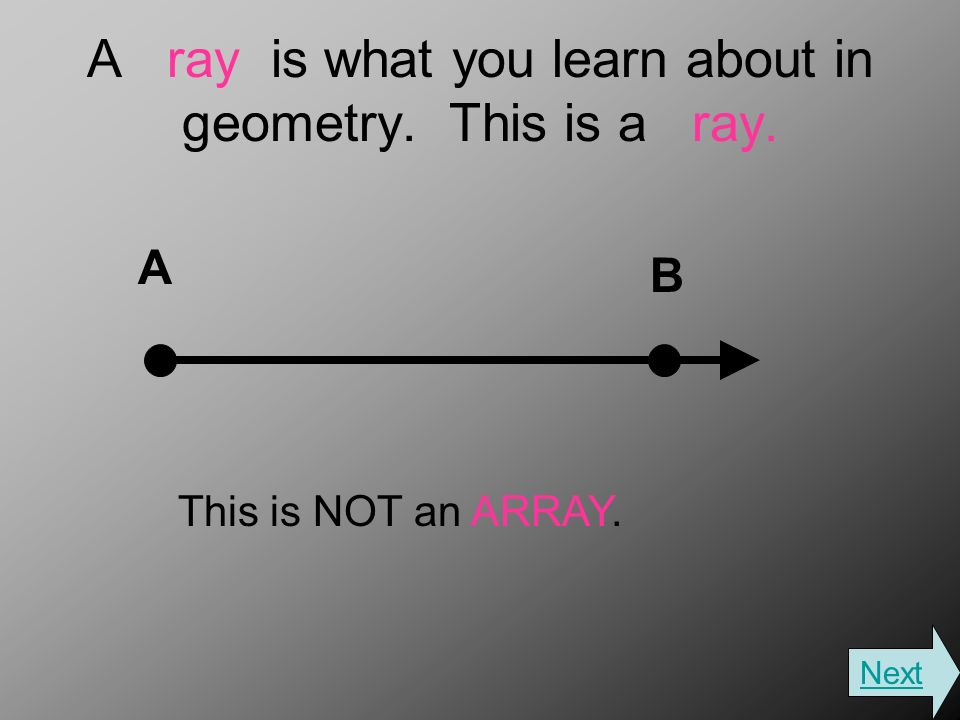 A ray is what you learn about in geometry. This is a ray. A B This is NOT an ARRAY. Next