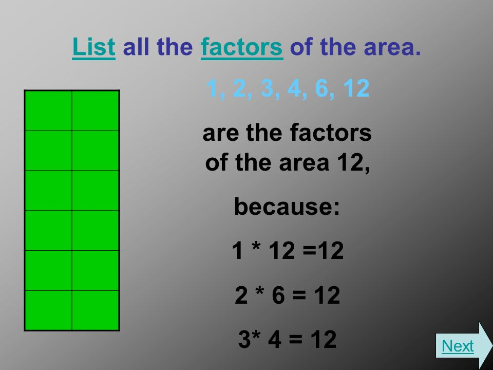 ListList all the factors of the area.factors 1, 2, 3, 4, 6, 12 are the factors of the area 12, because: 1 * 12 =12 2 * 6 = 12 3* 4 = 12 Next