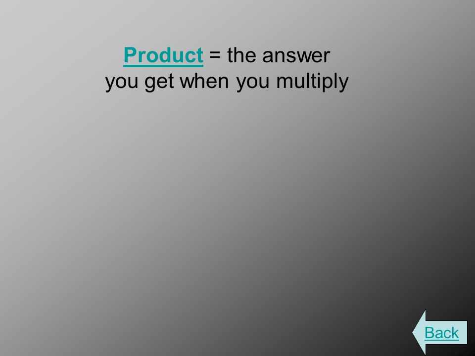 ProductProduct = the answer you get when you multiply Back