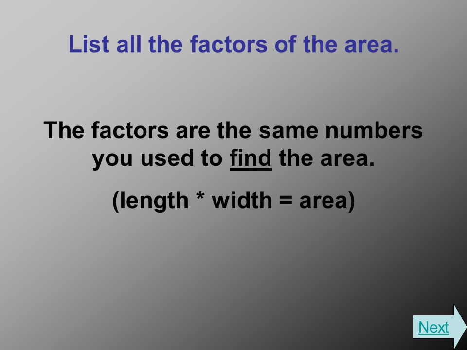 List all the factors of the area. The factors are the same numbers you used to find the area.