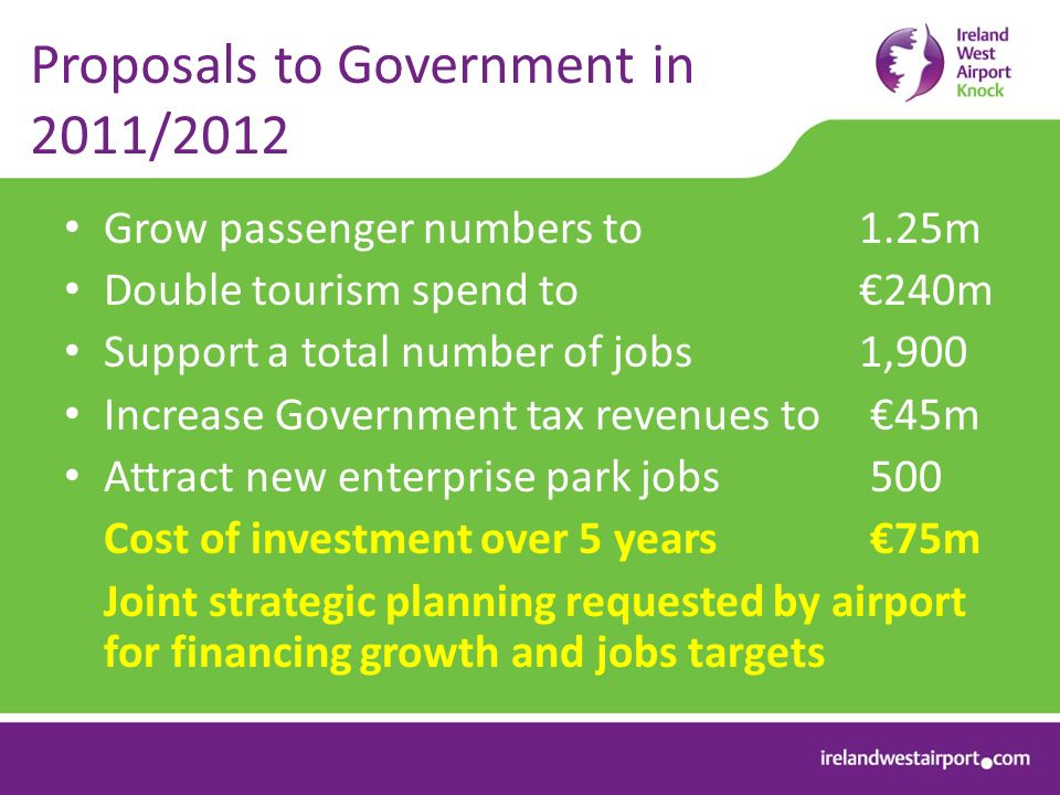 Proposals to Government in 2011/2012 Grow passenger numbers to 1.25m Double tourism spend to 240m Support a total number of jobs 1,900 Increase Government tax revenues to 45m Attract new enterprise park jobs 500 Cost of investment over 5 years 75m Joint strategic planning requested by airport for financing growth and jobs targets