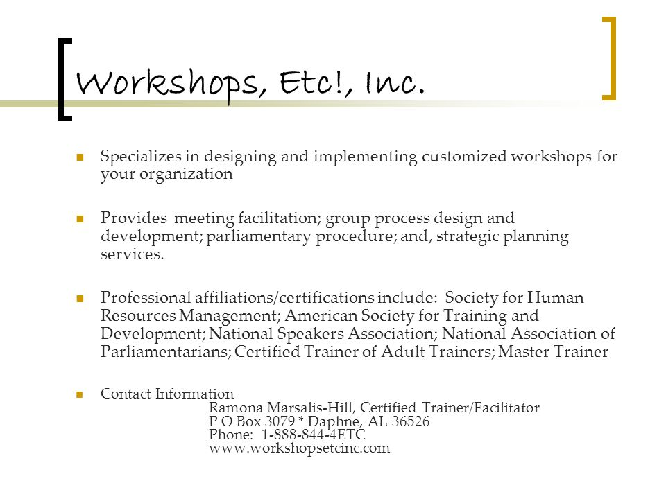Workshops, Etc!, Inc.