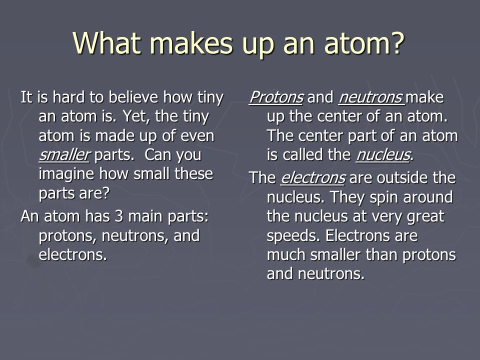 What makes up an atom. It is hard to believe how tiny an atom is.